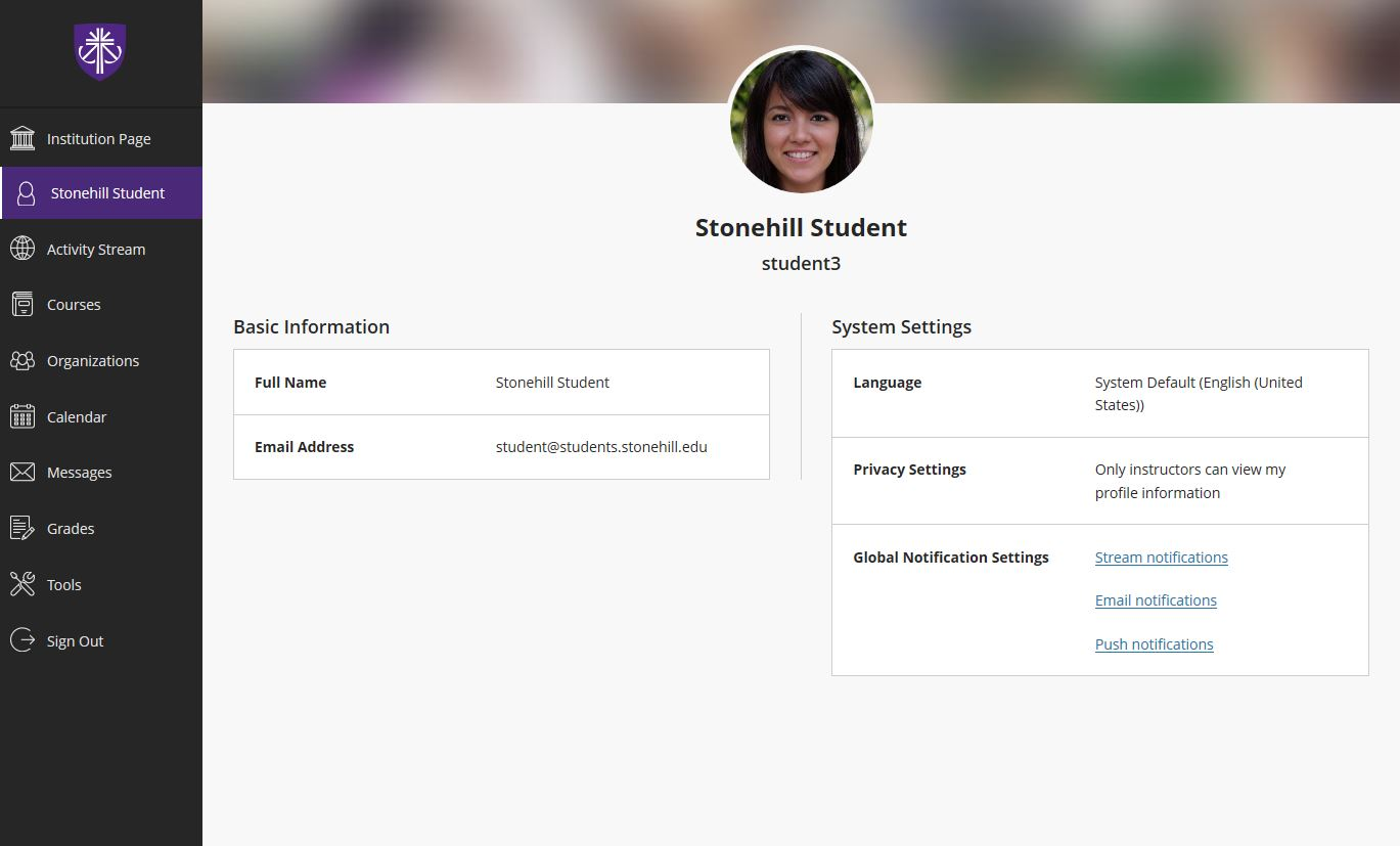 Example user profile screen, displaying user's photo, basic information and system settings