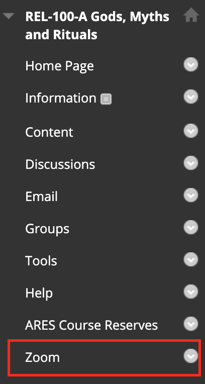 Screenshot of eLearn course menu, with the Zoom link highlighted