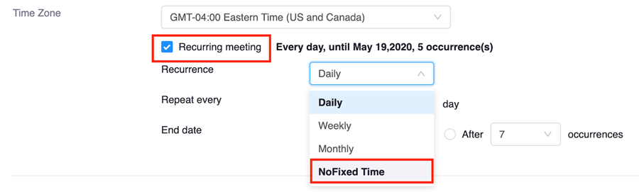 Screenshot of a Zoom meeting's options, with the Recurring meeting box checked and the NoFixed Time option highlighted