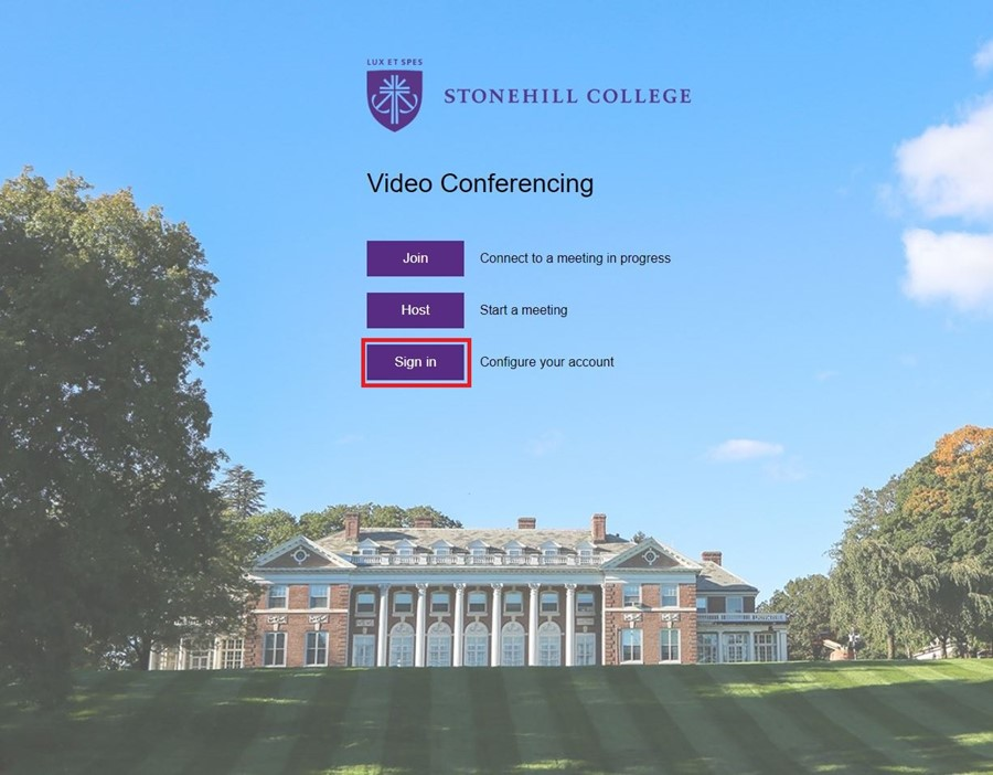 Image of https://stonehill.zoom.us with the Sign in button highlighted